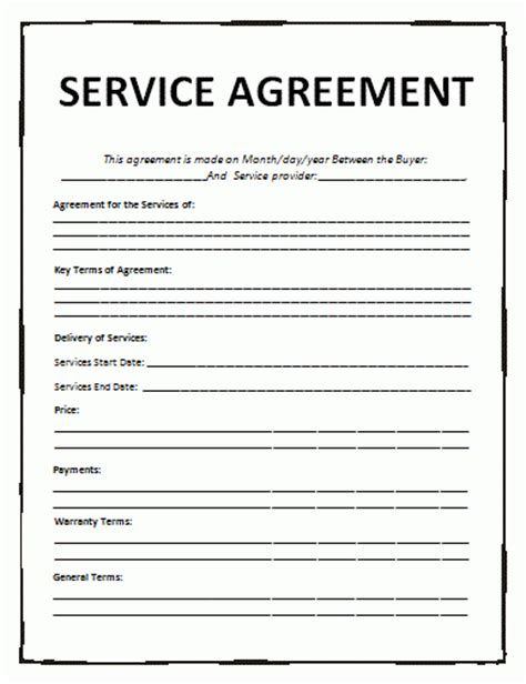 terms of agreement template service agreement template free word templates