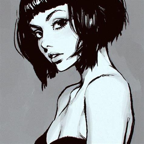 drawing of bob hair short hair girl drawing tumblr short bob hair poetry