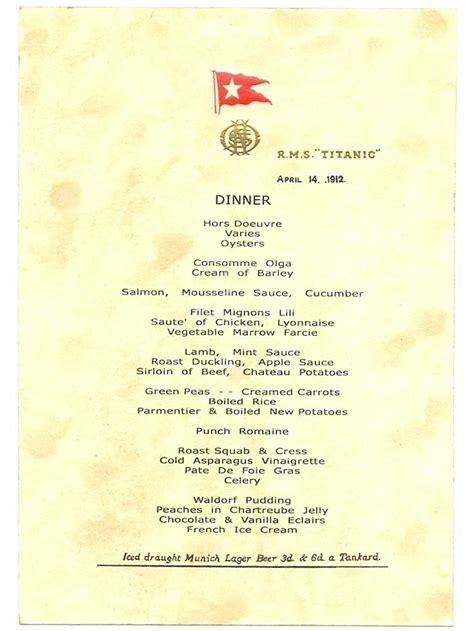 titanic breakfast menu titanic s last dinner menu dated april 14 1912