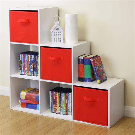 kids storage white 6 cube kids toy games storage unit girls boys