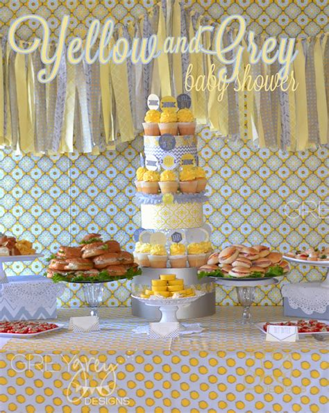 Baby Shower Color Themes by Greygrey Designs Yellow And Grey Bundle Of