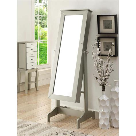 Cheval Jewelry Mirror Armoire by Linon Home Decor Cheval Mirrored Jewelry Armoire In