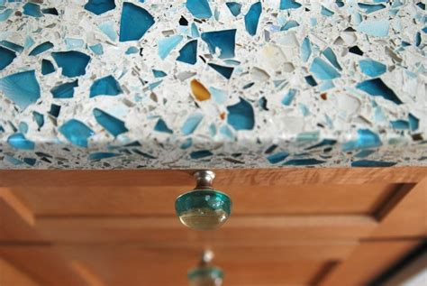 Recycled Glass Countertops Reviews by Floating Blue Vetrazzo Maple Cabinets And Recycled Glass
