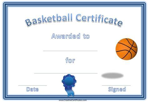 Basketball certificate templates free basketball certificate free basketball certificate templates yadclub Gallery