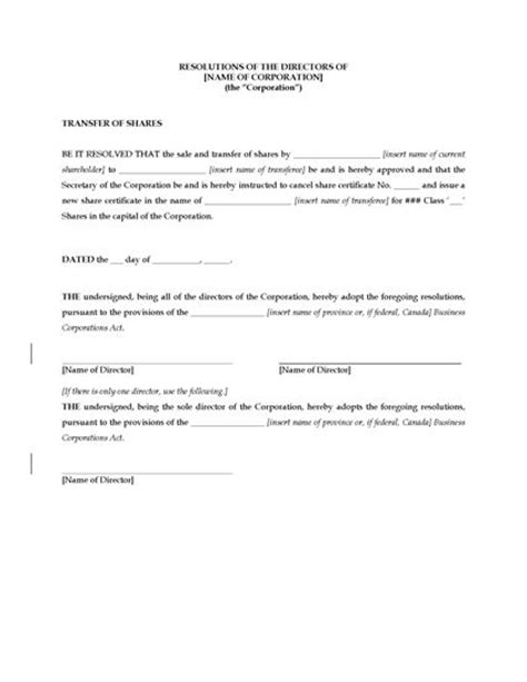 directors resolution template canada directors resolution approving transfer