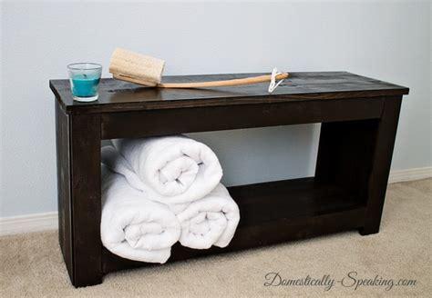 Diy Bathroom Storage Bench Domestically Speaking Bathroom Storage Bench
