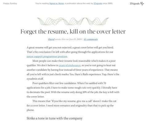 Cover Letter Vs Cv Signal Vs Noise Fonts In Use