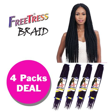box braids with 2 packs of hair multi pack long large box braid freetress synthetic