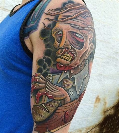 cartoon tattoo arm awesome cartoon like colored zombie monster tattoo on