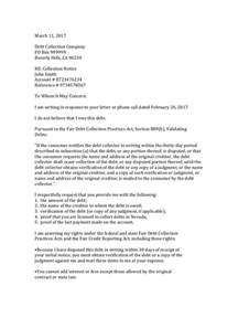 Credit Repair Letter Pdf Letter To Debt Collector Disputing Docoments Ojazlink