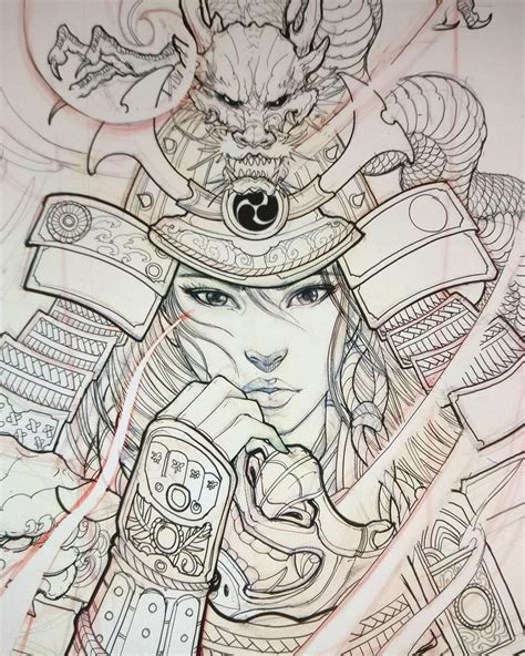 sketchbook japanese geisha warrior sketch by davidhoangtattoo for a