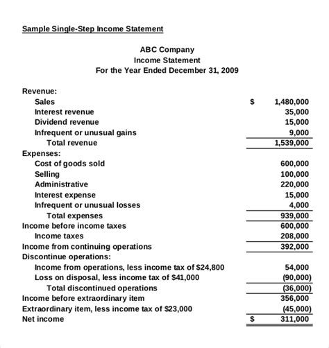 statement template pdf income statement templates 23 free word excel pdf