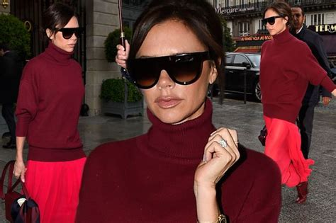 Beckham Mini Maroon beckham steps out in style in dressed in slouchy maroon turtleneck and floaty