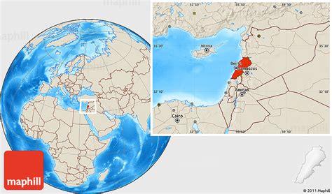 world map lebanon shaded relief location map of lebanon