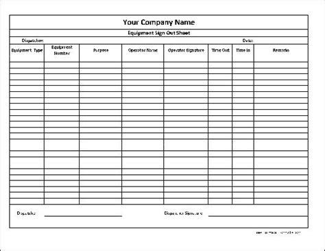 tool sign out sheet template sign out sheet