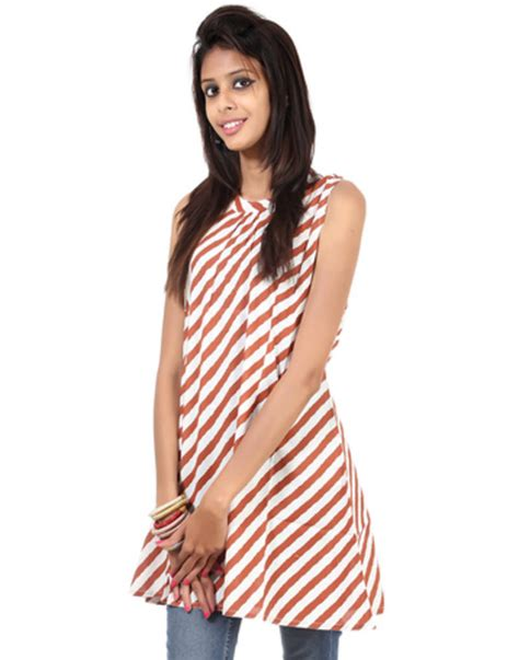 pattern of white kurti buy white striped pattern cotton printed women kurti online