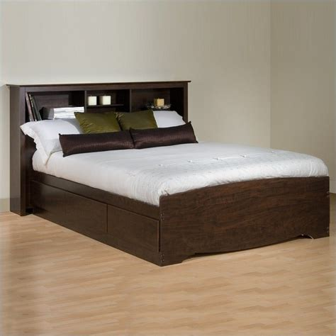 platform bed kit bookcase platform storage bed in espresso finish ebx bed kit