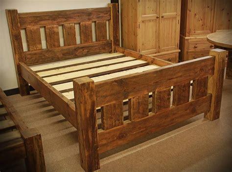 reclaimed wooden bed   rustic bedroom furniture