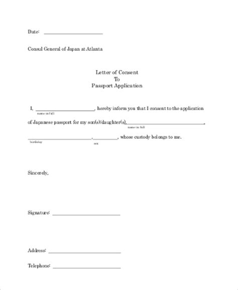 authorization letter for minor to get passport 10 sle letter of consent free documents in word pdf