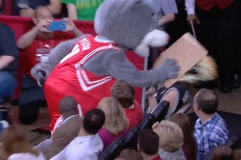 mascot fan system houston rockets mascot smacks spurs fan in the face with