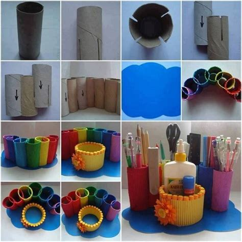 how to make diy toilet paper roll desk organizer how to