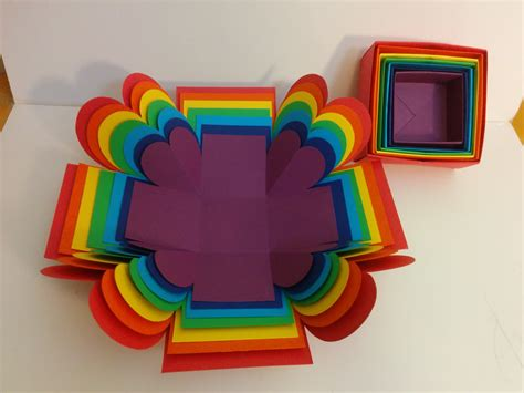 How To Make Arts And Crafts Out Of Paper - and craft how to make explosion box rainbow