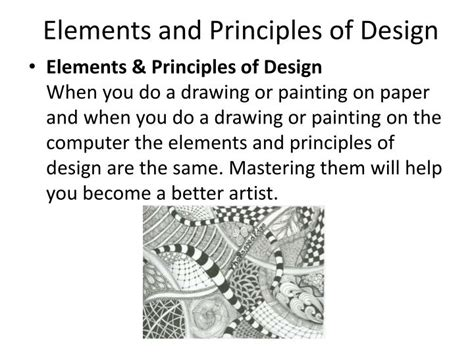design elements and principles powerpoint ppt zentangle powerpoint presentation id 2452460