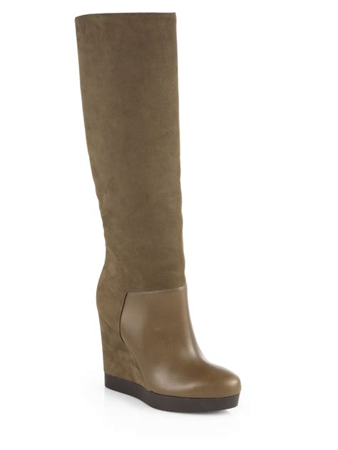 vince suede leather wedge boots in brown lyst