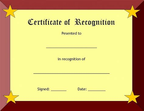 template for certificate recognition certificates certificate templates