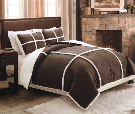 fleece comforter seasons microsuede sherpa comforter set with shams