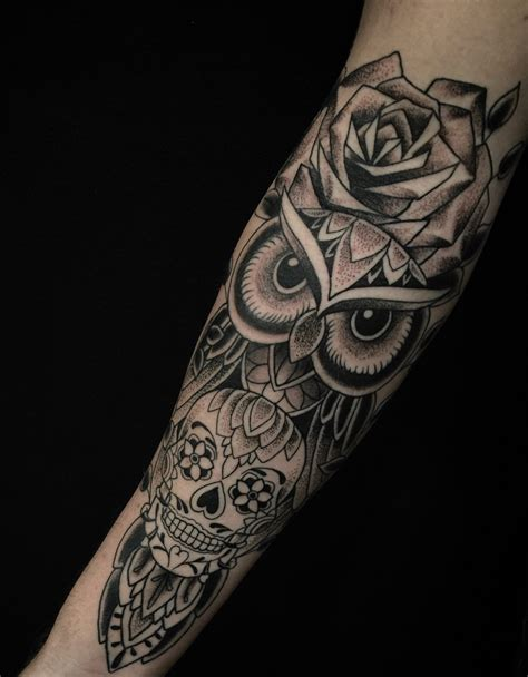 owl and skull tattoo 51 owl tattoos on arm