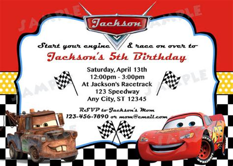 printable birthday invitations cars disney cars inspired invitation diy digital by modpoddesigns
