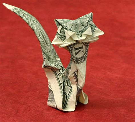 Money Origami Cat - stunning origami made using only money i like to waste