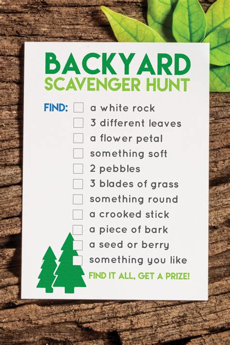 backyard scavenger hunt list printable back yard scavenger hunt hey let s make stuff