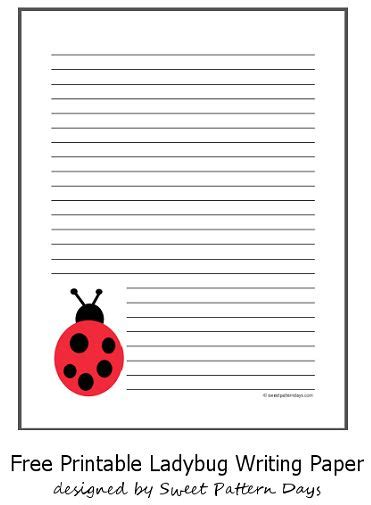 cute  ladybug lined paper stationery printables