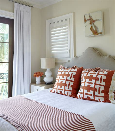 beige and orange bedroom beige and red bedrooms cottage bedroom tracery interiors