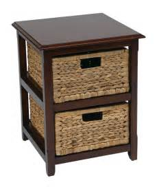 accent table with baskets seabrook 2 drawer espresso wood storage tower w natural baskets accent end table ebay