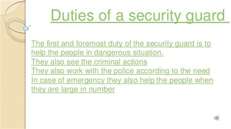Security Guard Duties by Duties Of A Security Guard