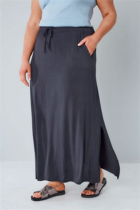 navy pull on maxi skirt plus size 16 to 36