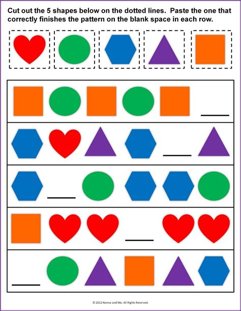 pattern and shape worksheets shape pattern worksheets for kindergarten