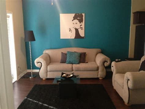 50s glam teal grey and black living room for the home
