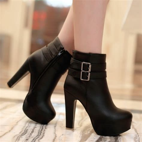 high heel motorcycle boots high heel fashion belt buckle motorcycle boots ankle boots