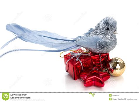 silver bird christmas gifts decorations stock photo
