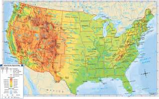 usa map with geography united states geographical map