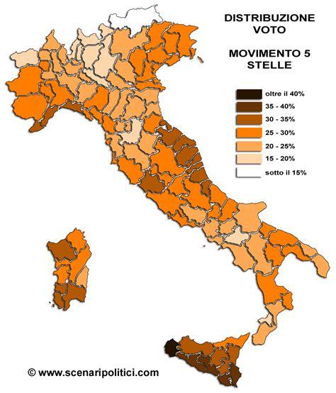 m5s distribuzione dei voti per provincia movimento 5 stelle