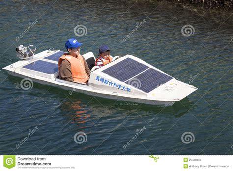 lake time boats solar powered boat editorial photo image of sailing