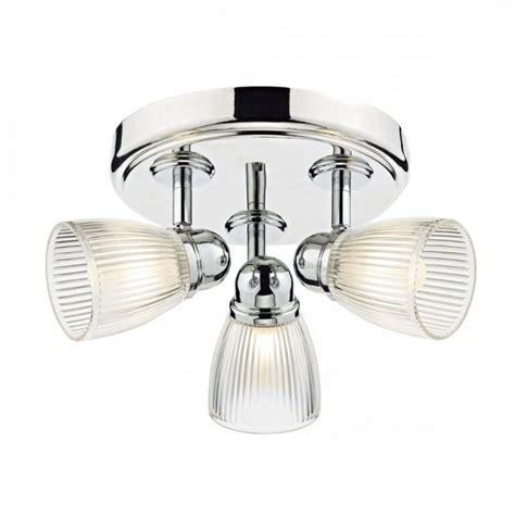 Modern Polished Chrome 3 Light Bathroom Ceiling Spotlight Glass Bathroom Light Shades