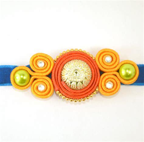 Handmade Rakhis - soutach large rakhi color handmade rakhi