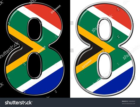 Number Search South Africa Number 8 Showing South Africa Flag Stock Photo 54604942