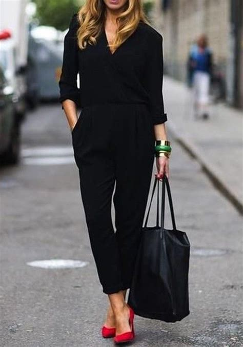 hairdos for pant romper black v neck high waisted belt long sleeve pockets fashion